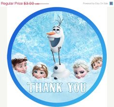 40% OFF SALE INSTANT Download Digital frozen Printable Birthday party favor thank you tag, label, sticker on Etsy, $1.80
