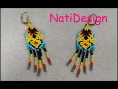 Seed Bead Earrings, Beaded Earrings, Seed Beads, Earring Tutorial, Beading Tutorials, Loom Beading, Crochet Necklace, Brooch, Pattern