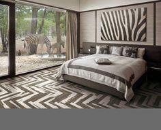 elegant herringbone tile pattern in the bedroom floor