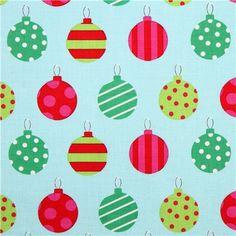 turquoise Christmas tree ball Winter Christmas fabric Michael Miller Holiday 1