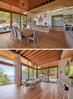 This modern cottage has large windows, an exposed ceiling, a white kitchen with an island, and a dining area that opens up to a landscaped area, creating and indoor/outdoor living environment. Cottage Design, Tiny House Design, Modern House Design, Modern Interior Design, Contemporary Cottage, Modern Cottage, Container Home Designs, Casas California, Modern Mountain Home