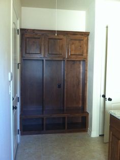Mudroom Cubbies we had them add. LIFE SAVER with 3 kids!