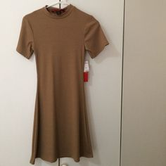 Tan Fit And Flare Dress