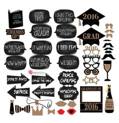 45 Hilarious #Graduation_2016 Photo Props Gold Glitter Chalkboard Funny Messages INSTANT DOWNLOAD Digital File (PDF) by CherryImprintDesign on Etsy
