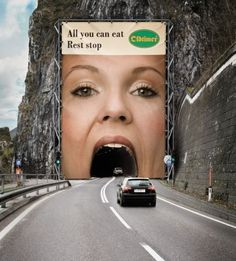 Oldtimer Restaurant: An Austrian chain of motorway restaurants surrounded tunnels with huge advertisements to promote their 'all you can eat' rest stops.