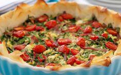 Ricotta cheese and tomato filo tart recipe - goodtoknow Tomato Pie, Tomato And Cheese, Spinach And Cheese, Tart Recipes, Lunch Recipes, Cooking Recipes, Spinach Ricotta, Savory Tart, Dough Recipe