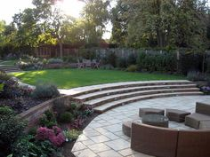 Large Sheltered Sunken Patio With Views Of The Upper Garden. Harpenden  Garden Design In Autumn