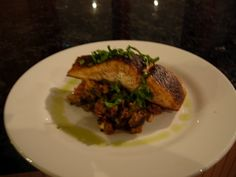 crispy skin salmon on smoky eggplant puree - find recipe on  http://www.Indianculinarycenter.com
