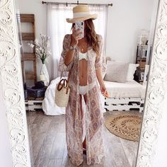 Stunning kimono style cover up maxi with front tie + tassel deal. Summer Vegas Outfit, Casual Summer Outfits, Short Outfits, Chic Outfits, Trendy Outfits, Fashion Outfits, Beach Vacation Outfits, Bahamas Vacation, Bikini Outfits