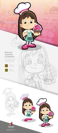 Ilustração de Mascote - Arquiteta Confeiteira
