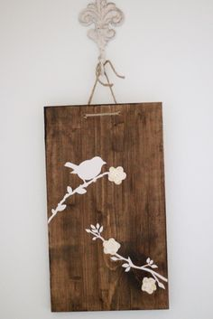 Use a clip board but remove the clip - stain - design and hang from the front side of the frame so knot doesn't show Cool Wall Art, Bird Wall Art, Wall Art For Sale, Bath And Beyond Coupon, Wall Decor, Diy Wall, Crafty Craft, Crafting, My New Room
