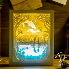 Light and shadow meet DIY handmade 3D paper sculpture lamp light creative gift lamp bedroom bedside Nightlight