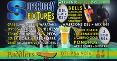 If you're planning on watching the Super Rugby 2018 this weekend at Paddler's Restaurant & Bar, you are in luck! We are running some weekend drink specials that you are not going to want to miss out on. Super Rugby, Rugby World Cup, Drink Specials, Smirnoff, Special Promotion, Restaurant Bar, Blues, Website Link, Running