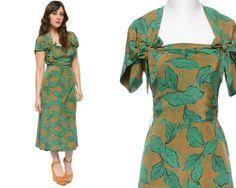40s Dress Green Leaf Print Silk Sweetheart by GravelGhostVintage, $195.00