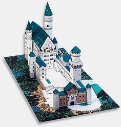 Neuschwanstein Castle Paper Model - by Papertoys.com - Neuschwanstein Castle is a 19th-century Gothic Revival palace on a rugged hill above the village of Hohenschwangau near Füssen in southwest Bavaria, Germany. The palace was commissioned by Ludwig II of Bavaria as a retreat and as a homage to Richard Wagner. Find the link to download this cool architectural paper model at Papermau!