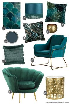 The top home decor trends for 2019 - warmer, earthier spice tones, teal and emerald fringed velvet and blush pink art deco styling.My Top 3 Home Decor Trends for 2019 - Velvet Jewel Interior Design Trends, Home Decor Trends, Home Design, Home Decor Inspiration, Decor Ideas, Decorating Ideas, Decor Diy, Decorating Websites, Home Decor Styles