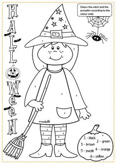 Halloween witch - colouring worksheet - Free ESL printable worksheets made by teachers Halloween Vocabulary, Halloween Worksheets, Halloween Math, Halloween Activities, Halloween Crafts, Happy Halloween, Halloween Prop, Halloween Witches, Fall Crafts