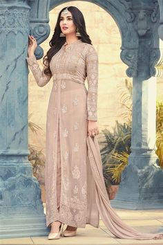 Online Shopping of Sonal Chauhan Featuring Chikoo Georgette Fabric Sangeet Wear Anarkali Suit With Embroidery Work from SareesBazaar, leading online ethnic clothing store offering latest collection of sarees, salwar suits, lehengas & kurtis Salwar Designs, Kurta Designs Women, Kurti Designs Party Wear, Dress Designs, Robe Anarkali, Costumes Anarkali, Anarkali Suits, Punjabi Suits, Fashion Designer