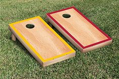Yellow Gold  Dark Red Hardcourt Border Cornhole Boards Game Set * Check this awesome product by going to the link at the image.