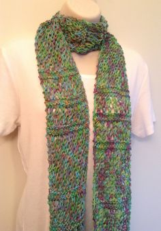 Green and Pink Knit Skinny Scarf by SueAnnesKnitShoppe on Etsy
