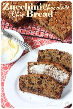 zucchini chocolate chip bread - I could really go for a piece of this right now! via @Myra