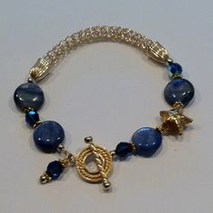Handcrafted Gold Filled Viking Knit Chain and Kyanite Beads.  www.djbeadin.com 3ac322ed0ffa6