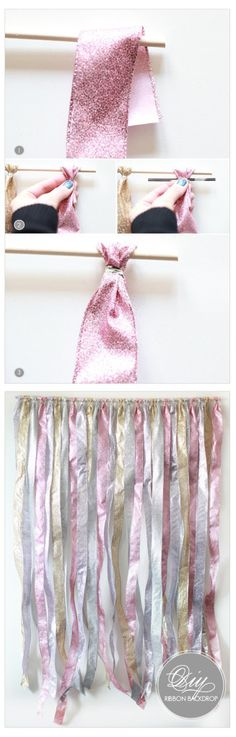 Ribbon Backdrop    This is a simple project that could make a dramatic difference.  All you need is a dowel rod and either ribbon or strips of fabric.  You could use the twisty ties to secure the strips or string, paper tape, hot glue, etc.