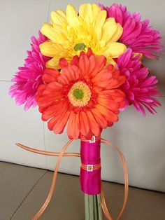 Hot Pink Fuchsia Yellow Orange Wedding Gerbera Daisy Bridal Bouquet on Etsy, $55.00