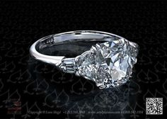 Antique cushion five-stone diamond engagement ring by Leon Mege--dream ring. Period.