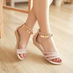 Hollow-outs Flat Sandals with Metal Tassels 2 Pretty Sandals, Beautiful Sandals, Pretty Shoes, Stylish Sandals, Flat Sandals, Shoes Flats Sandals, Ankle Strap Flats, Indian Shoes, Bridal Sandals