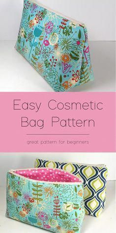 Easy and so cute cosmetic bag pattern -- great for gifts. Free pattern to make and sew an easy cosmetics bag. Flat bottomed bag with a zipper. Print, cut, sew in less than 30 minutes. You'll love this makeup bag! Sewing Hacks, Sewing Tutorials, Sewing Tips, Fat Quarter Projects, Leftover Fabric, Love Sewing, Sewing Projects For Beginners, Sewing Patterns Free, Fabric Scraps