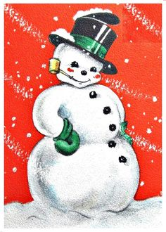snowman Old Christmas, Christmas Scenes, Vintage Christmas Cards, Vintage Cards, Frosty The Snowmen, Snowman, Snowmen Pictures, Buddy The Elf, Dear Santa