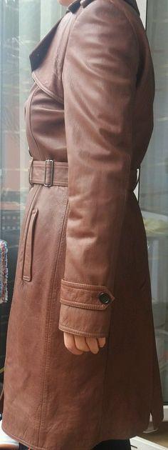 Strenesse by Gabriele Strehle Ledermantel Mantel Trenchcoat braun 38 M Leder TOP   eBay