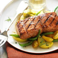 While the smoky flavor may be the top reason to grill salmon, the quick prep time is also a benefit. You can season and grill salmon fillets or steaks in about 30 minutes. Plus, heart-healthy grilled salmon is packed with pro
