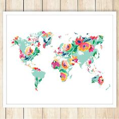 This is an INSTANT DOWNLOAD! 16x20 and 11x14 Large Floral World Map Printable Poster WHAT WILL YOU RECEIVE?