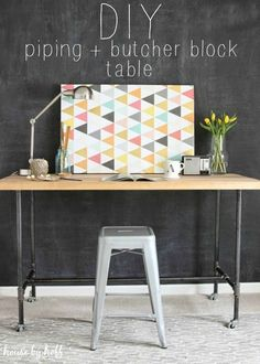 Make your own industrial DIY piping and butcher block table!