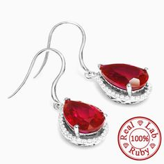11ct Women Pigeon Blood Ruby Drop Earrings Only $94.5 => Save up to 60% and Free Shipping => Order Now! #Bracelets #Mystic Topaz #Earrings #Clip Earrings #Emerald #Necklaces #Rings #Stud Earrings