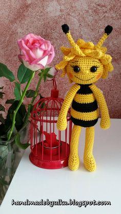 Handmade by Ülkü: Kundenauftrag Amigurumi Süsse Biene / Bee / Seviml...