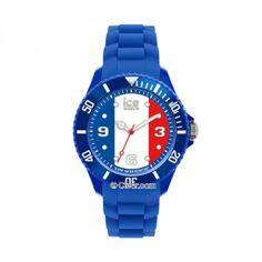 Montres - Montre ICE-WATCH Femme, Quartz, Boîtier Résine, drapeau français, Bracelet Silicone bleu - WO.FR.S.S.12