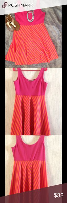 Judith Marsh Striped Dress  Orange & Pink Judith March striped bottom tank dress. Size Large.                                                     On vacation until July 11. My closet will be active again that day.  Judith March Dresses Midi