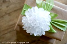 "Make a tissue paper flower ""bow"" to top your shower gift! @Alissa Evans"