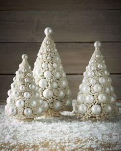 Three Ivory Bauble Trees by Bethany Lowe at Neiman Marcus.