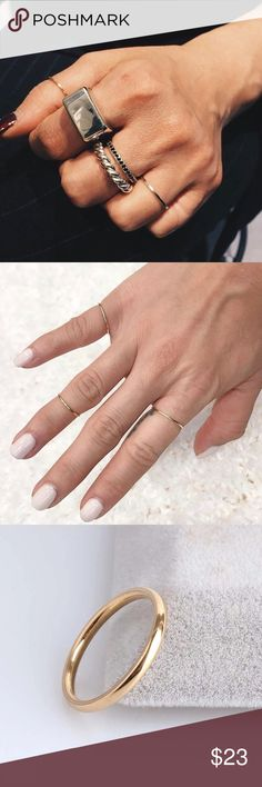 Stainless Steal Thin Ring, a Must Have 3mm gold stainless steel ring Size: 7, 8. A must have !  Shipping same or next day. Jewelry Rings