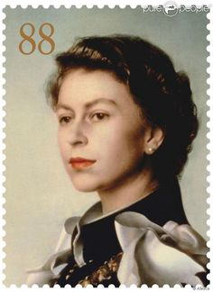 Stamp bearing the image of Queen Elizabeth II, after a portrait by Pietro Annigoni (1954)