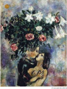 Lovers under lilies, 1925, Marc Chagall