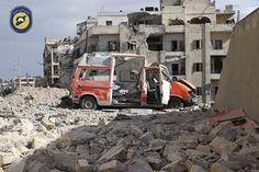 Aleppo, Syria: A destroyed ambulance