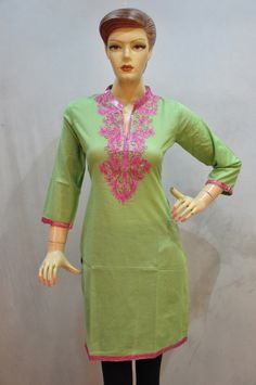New designer green kurti with cotton fabric and nehru neck. Neck on amazing embroidery with lace work. It's gives a simple look and casual wear drape.