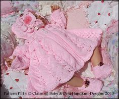 "Frilled Matinee Set 16-22"" doll (preemie-3m+ baby)-knitting pattern, matinee coat, doll, baby, babydoll handknit designs"