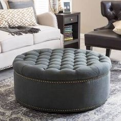 Puff Ottoman  Softness Style Storage has never been so Pure! Since the beginning of the year many girls were looking for our Awesome guide and it is finally got released. Now It Is Time To Take Action! See how... #interiors #homedecor #interiordesign #homedecortips Round Storage Ottoman, Round Ottoman, Tufted Ottoman, Leather Ottoman, Ottoman Table, Ottoman Decor, Sofa Tables, Console Tables, Woodworking