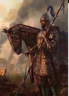 Byzantine Cataphract w Armoured Horse Medieval Knight, Medieval Fantasy, Ancient Rome, Ancient History, Historical Concepts, Fantasy Armor, Knights Templar, Character Portraits, Dark Ages